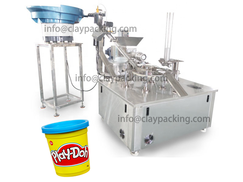 Automatic Play Doh Cup extruding,Filling,Capping,Packing Machine